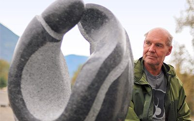 Creston BC sculptor gives First Nations heritage form in granite